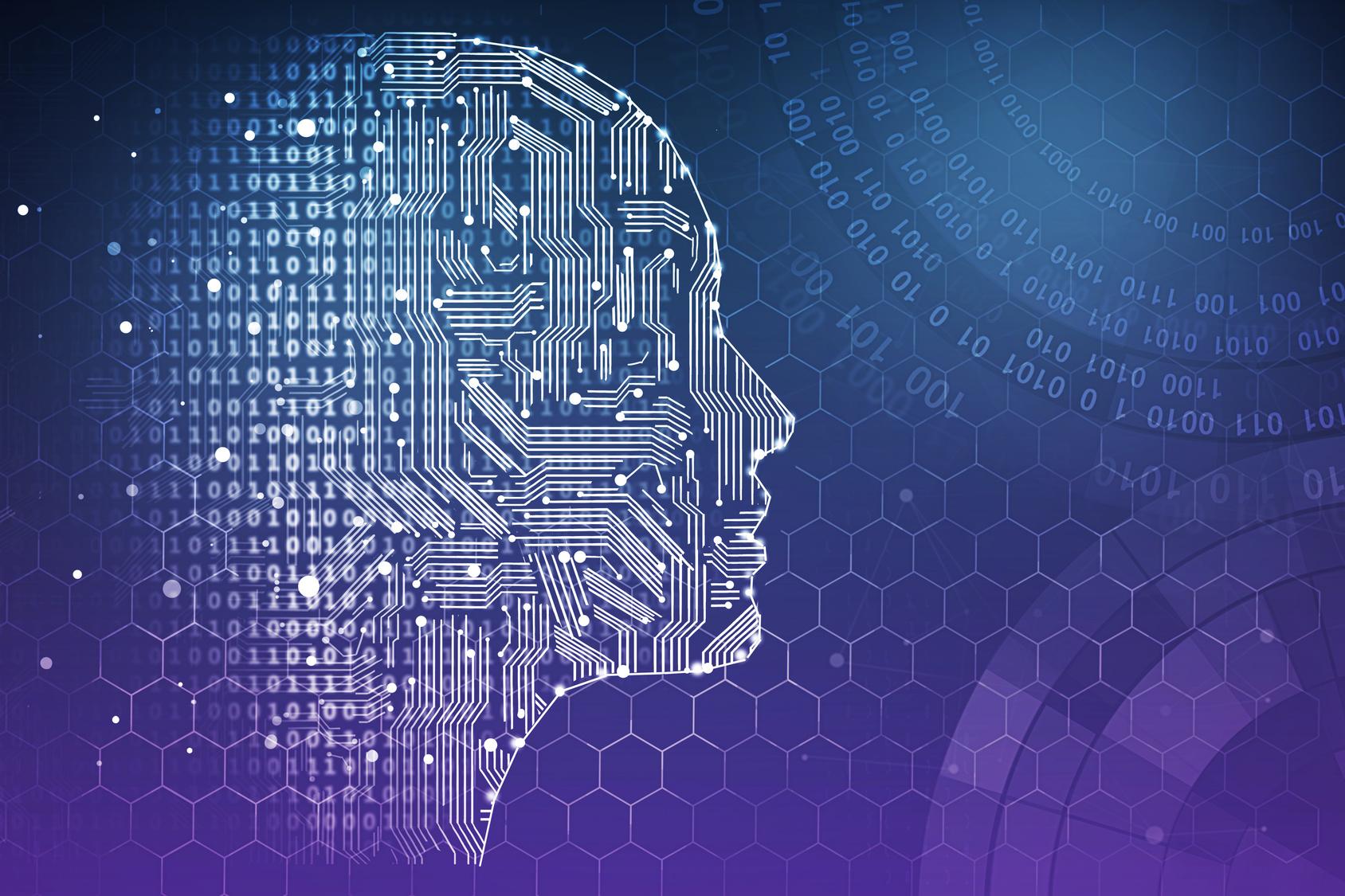Menschlicher Kopf mit Schaltkreisen